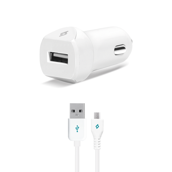 Ttec SpeedCharger Araç Şarj Aleti 2.1A  Kablolu Beyaz Micro Usb
